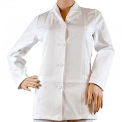 Jacheta alba cu guler pentru femei/barbati, maneca lunga - CF03