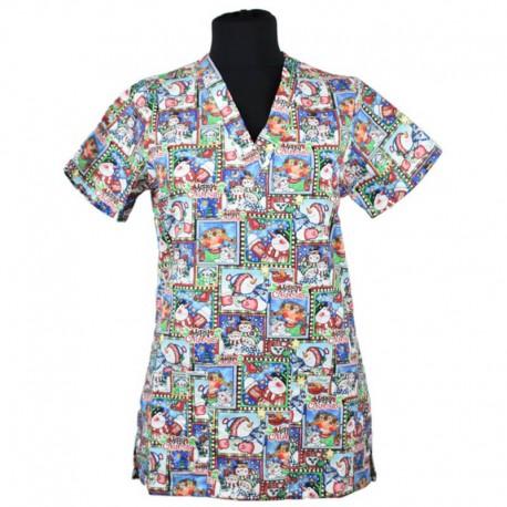Bluza medicala imprimata, editie speciala de Craciun - Lotus
