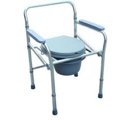 Scaun cu WC de camera, inaltime reglabila, aluminiu, pliabil - CMB-894L